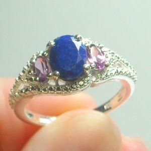 Jewelry - NWT Natural Lapis Lazuli & Rhodolite Garnet Ring